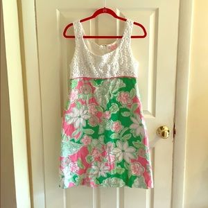 Lilly Pulitzer dress green and pink floral w/lace